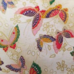 Tissu japonais crème papillons et fleurs de cerisier