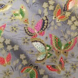 Tissu japonais gris papillons et fleurs de cerisier