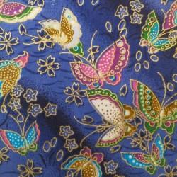 Tissu japonais bleu papillons et fleurs de cerisier