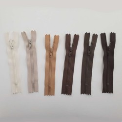 Fermeture glissière nylon 10cm blanc ivoire non séparable