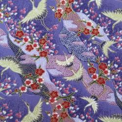Tissu japonais violet motifs de grues