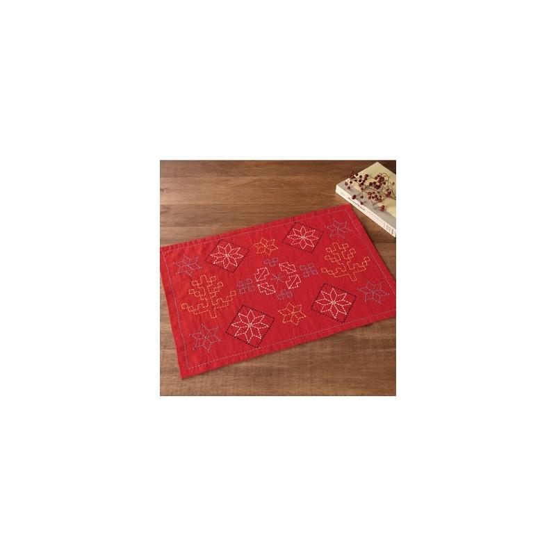 Kit sashiko 1 set de table rouge motifs arbres et étoiles