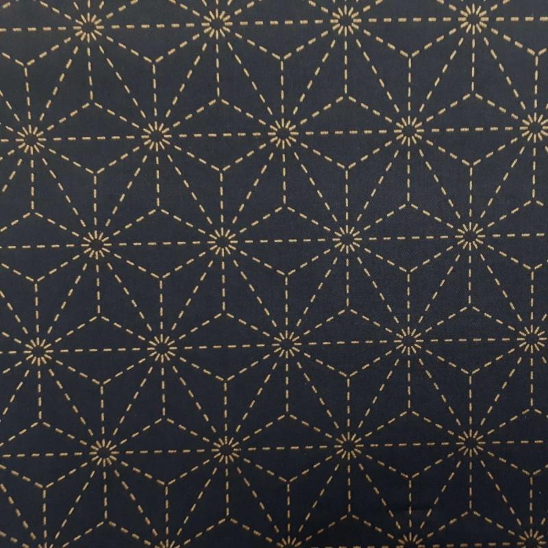 Toile sashiko indigo motifs asanoha