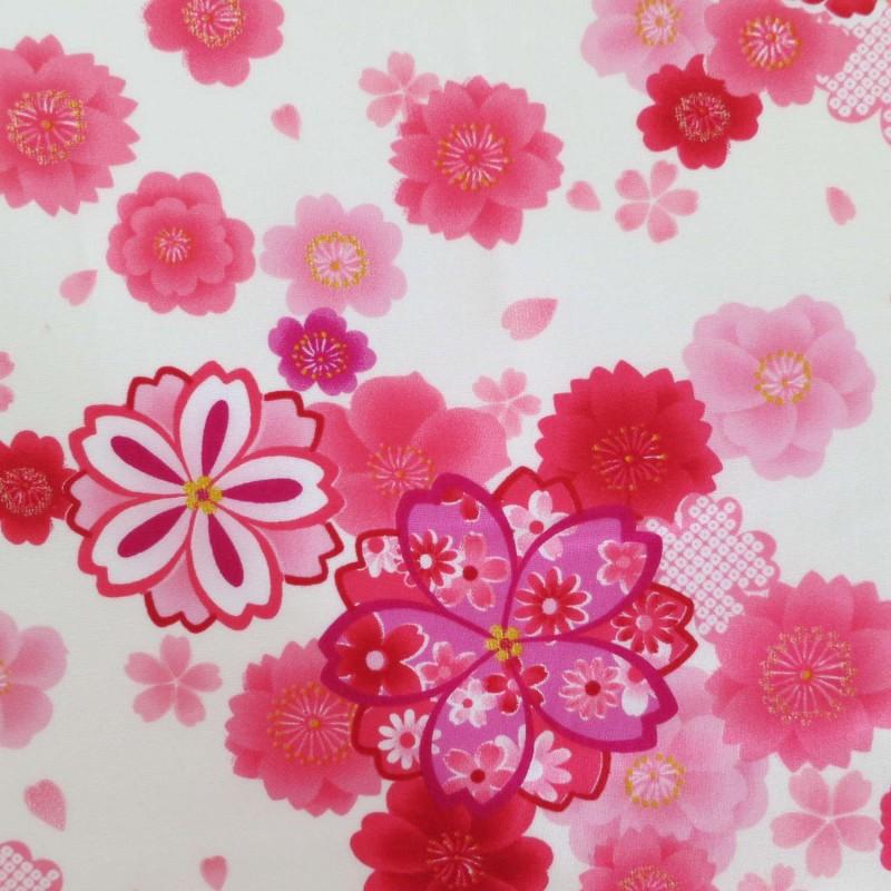 Tissu japonais fleurs de cerisier roses
