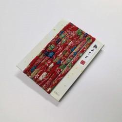 Cordon chirimen rouge fleurs 1,8m long 6mm diamètre