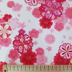 Tissu japonais en coton avec motifs de fleurs de cerisier