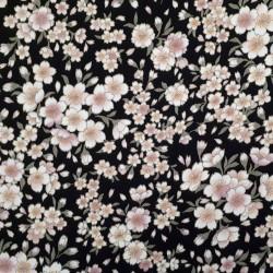 Tissu chirimen fleurs de cerisier fond noir