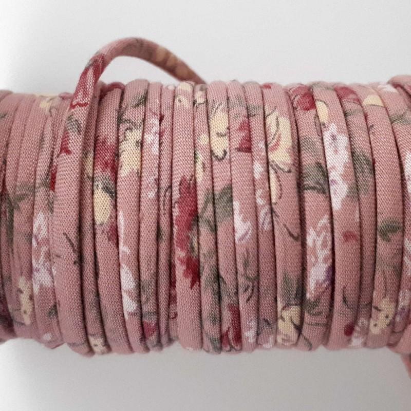 Cordon coton vieux rose fleurs 2mm diamètre vendu au mètre