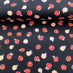 Tissu japonais camélias sur fond noir