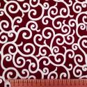 Tissu japonais rouge foncé arabesques