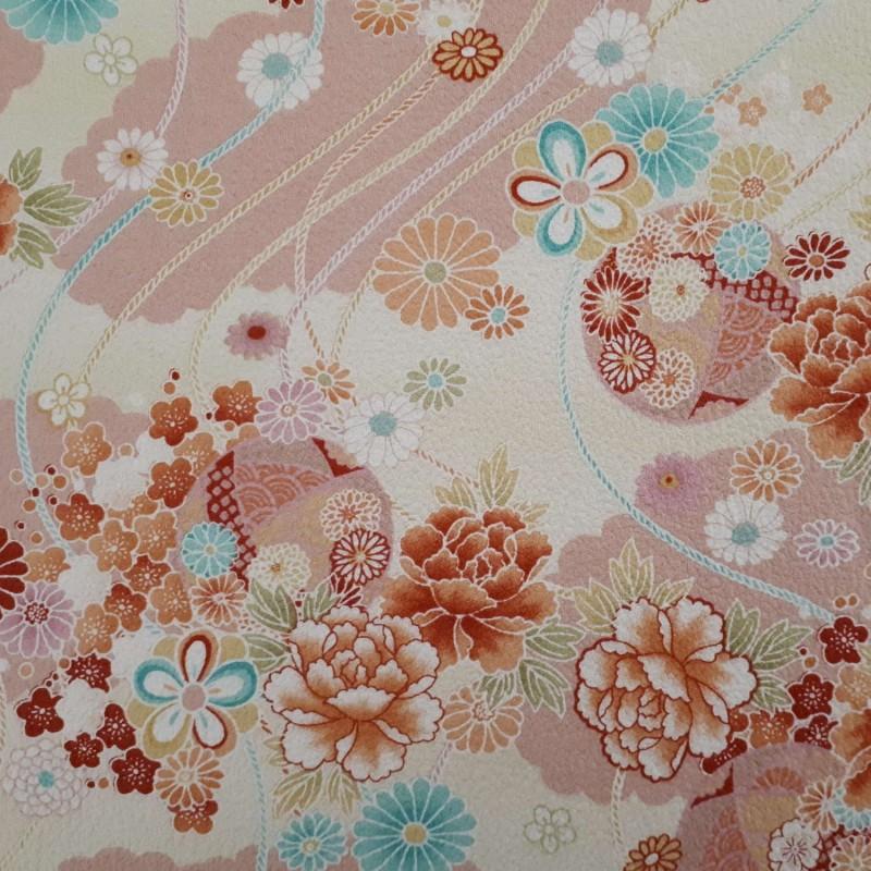 Tissu rose et crème gaufré fleurs et cordes