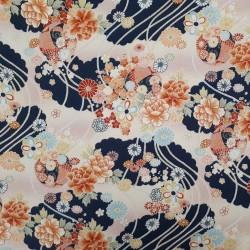 Tissu bleu foncé et crème gaufré fleurs et cordes