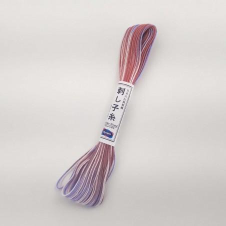Fil mix rose mauve blanc pour sashiko 20m (73)
