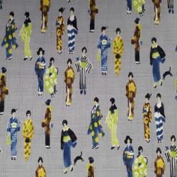Tissu japonais coton dobby japonaises en kimono fond gris