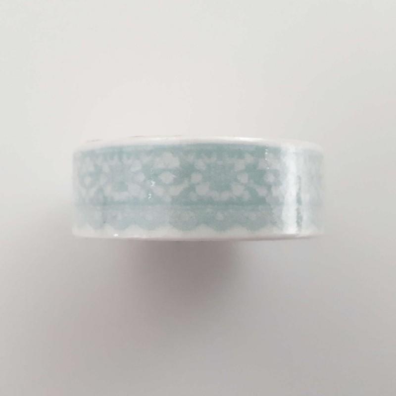 Masking tape dentelle vert menthe fond bleu 15mm x 7m