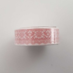Masking tape dentelle rose clair fond blanc 15mm x 7m