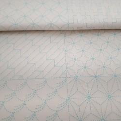 Panneau toile sashiko ivoire 8 motifs (60x113cm)