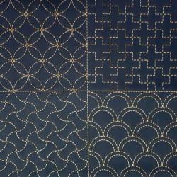 Dark blue sashiko panel with 8 different patterns