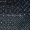 Panneau toile sashiko indigo 8 motifs (60x113cm)
