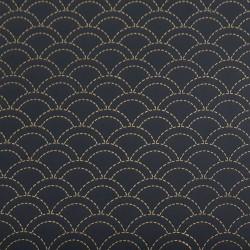 Toile sashiko indigo motifs seigaiha