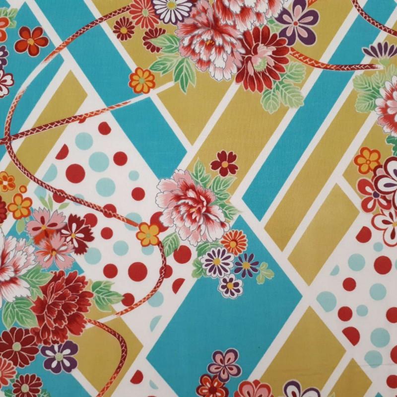 Tissu graphique Kokka moutarde turquoise et fleurs