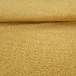 Tissu japonais vagues seigaiha jaune moutarde