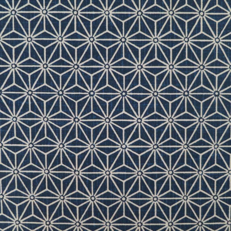 Tissu japonais asanoha moyen bleu indigo