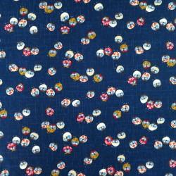 tissu japonais hiboux fond bleu nuit