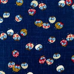 Tissu japonais bleu nuit motif hiboux