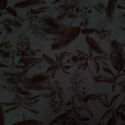 Tissu maillot de bain bleu minéral foncé plantes