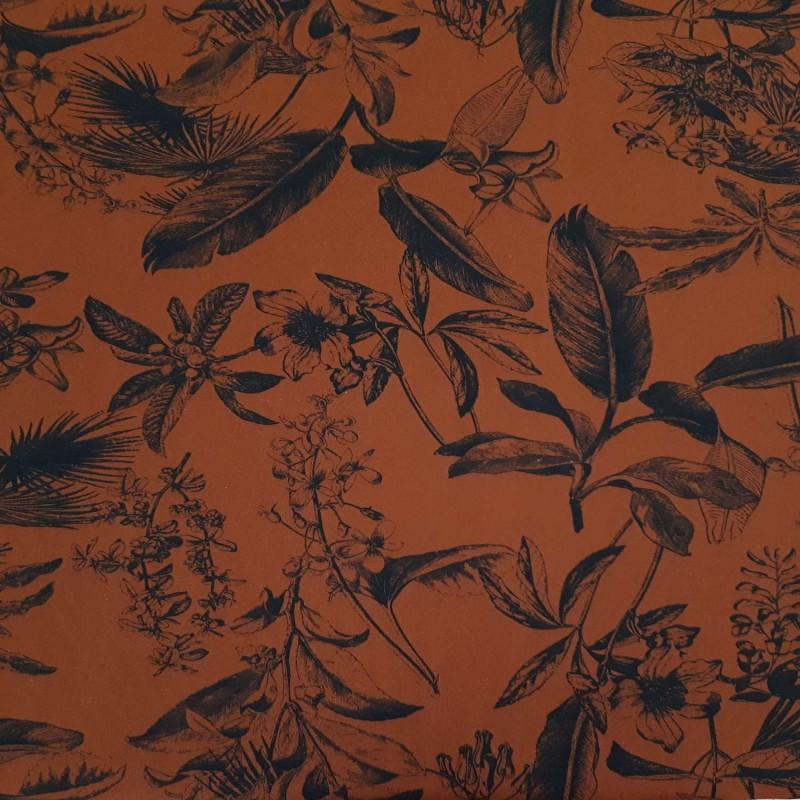 fd2727cc2f Tissu maillot de bain rouille motifs plantes