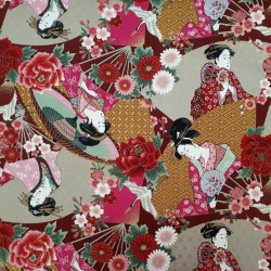 Tissu japonaises en kimono sur fond rouge rose ocre gris