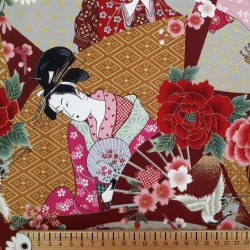 Tissu japonaises sur fond rouge rose ocre gris