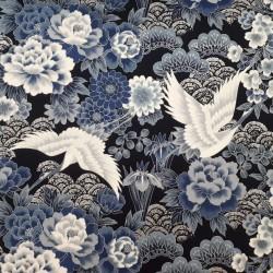 Tissu japonais bleu nuit grands motifs de grues
