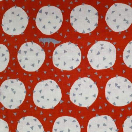 Double gaze Echino rouge orangé ronds blancs triangles renards