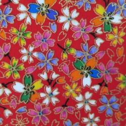 Tissu japonais rouge fleurs...