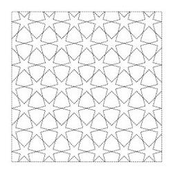 Coupon tissu sashiko blanc pré-imprimé étoiles