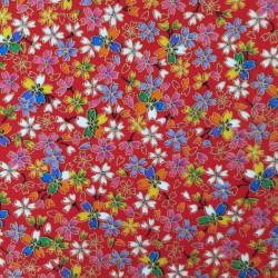 tissu patchwork japonais rouge avec fleurs de cerisier et dorures