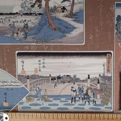 Tissu japonais épais motifs d'estampes fond marron