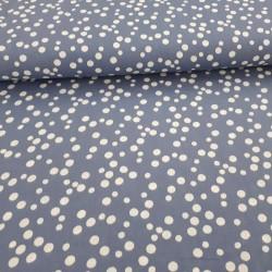 Double gaze gris bleuté motifs pois (non froissée)