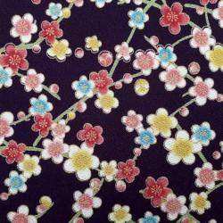 Tissu chirimen violet foncé fleurs de prunier