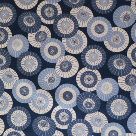 Tissu japonais bleu nuit motifs d'ombrelles