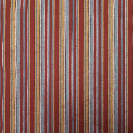 Tissu japonais coton tissé rouge foncé rayures
