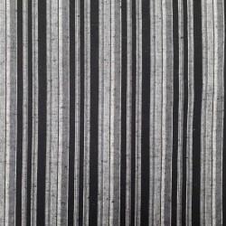 Tissu japonais coton tissé rayures noires blanches grises