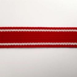 Sangle rouge bandes blanc cassé 25mm de large vendue au mètre pour anses de sacs