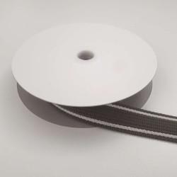 Sangle grise bandes blanc cassé 25mm de large vendue au mètre pour anses de sacs
