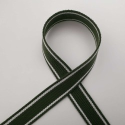 Sangle vert kaki bandes blanc cassé 25mm de large vendue au mètre pour anses de sacs