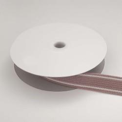 Sangle mauve bandes blancs cassé 25mm de large vendue au mètre pour anses de sacs