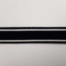 Sangle noire bandes blancs cassé 25mm de large vendue au mètre pour anses de sacs