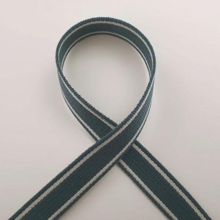 Sangle bleu minéral bandes blancs cassé 25mm de large au mètre pour anses